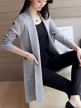 Ericdress Plain Pocket Cardigan Knitwear