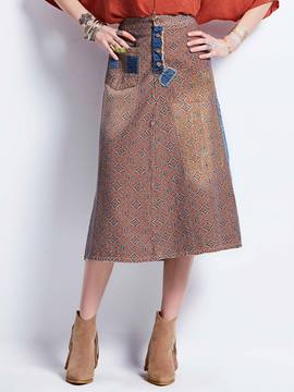 Geometric Pattern Denim Patchwork Women's Skirt