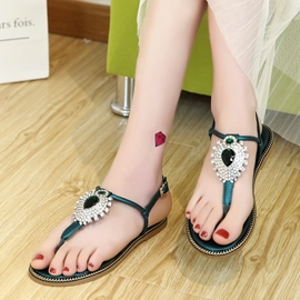 Ericdress Glittering Crystal Thong Flat Sandals