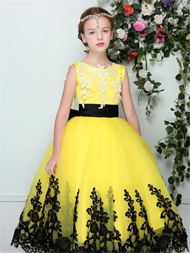 Ericdress Stylish Tulle Appliques Scoop Sleeveless Flower Girl Dress