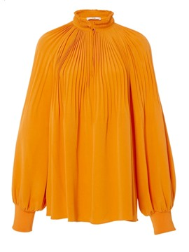 Ericdress High Ruffled Neckline Pleated Blouse