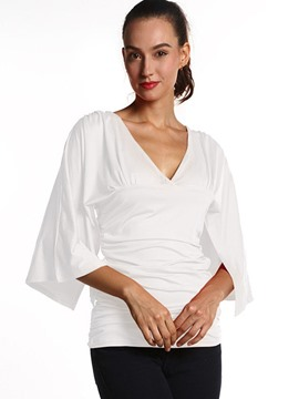 Ericdress V-Neck Pleated Falbala T-Shirt