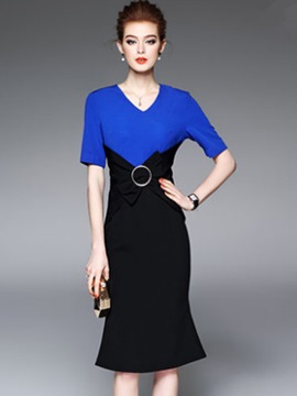 Ericdress Color Block V-Neck Mermaid Sheath Dress
