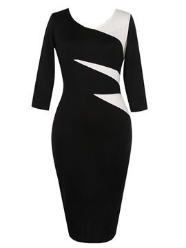 Ericdress Color Block 3/4 Length Sleeves Zipper Bodycon Dress