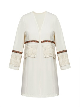 Ericdress Tassel Patchwork Wrapped Mid-Length Coat