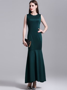 Ericdress Plain Sleeveless Close-Fitting Mermaid Maxi Dress