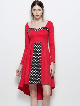 Ericdress Square Neck Polka Dots Asymmetric A Line Dress