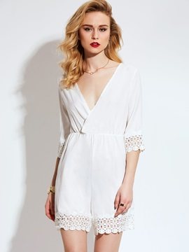 Ericdress Lace Hollow V-Neck Women's Romper