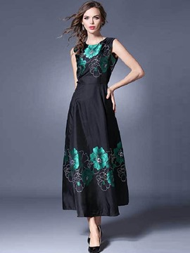 Ericdress European Print Expansion Hem Summer Maxi Dress