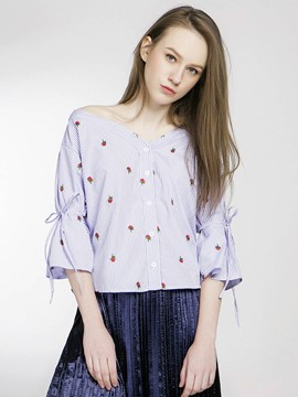Ericdress Rose Embroidery Striped Blouse