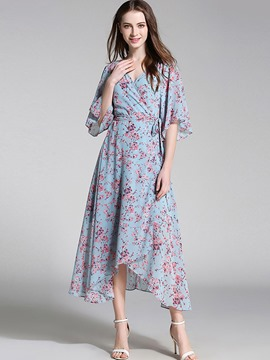 Ericdress V-Neck Half Sleeves Floral Asymmetric Maxi Dress