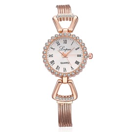 Ericdress Diamante Alloy Quartz Rose Gold Watch
