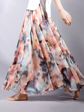 Ericdress Broomstick Ankle-Length Chiffon Floral Print Women's Skirt