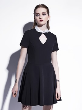Ericdress Rosetic Short Sleeve A-Line Dress