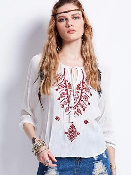 Ericdress Round Neck Embroidery Lace-Up Blouse