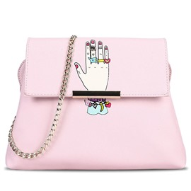Celebrity Cartoon Hand Print Crossbody Bag