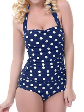 Ericdress Lace-up Ploka Dots One Peice Plus Size Swimwear