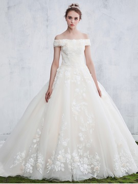 Ericdress Lace Appliques Off The Shoulder Ball Gown Wedding Dress