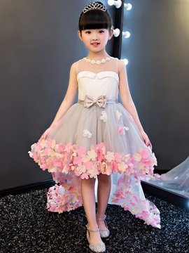 Ericdress Hi-Lo 3D-Floral Flowers Bowknt Flower Girl Dress