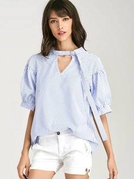 Ericdress Hollow Short Sleeve Blouse