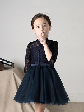 Ericdress Short A-Line Lace Tulle Flower Girl Dress with Sleeves