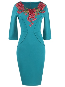 Ericdress top flor bordado llano 3/4 longitud mangas bodycon vestido