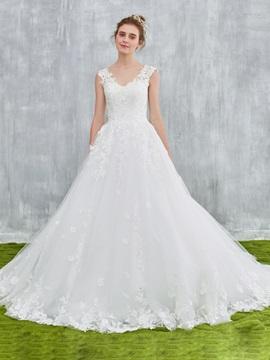 Ericdress Lace Appliques Double V-Neck Bridal Wedding Dress