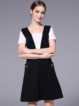 Ericdress Simple Patchwork Pocket Double-Layer A Line Dress