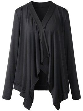 Ericdress Solid Color Pleated Comfy Jacket