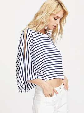Ericdress Batwing Sleeve Striped Top
