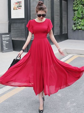 Ericdress Ruffle Sleeve Expansion Hem Soft Chiffon Maxi Dress