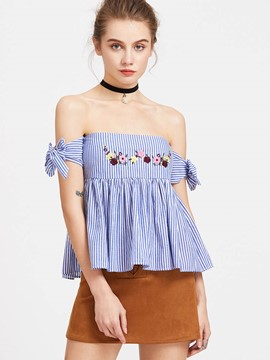 Ericdrss Off-Shoulder Embroidery Striped Top