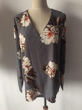 V-Neck Flower Print Women's Blouse