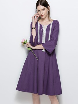 Ericdress Color Block Flare Sleeve Expansion A Line Dress