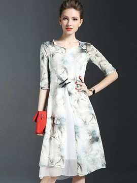 Ericdress Elegant Print 3/4 Length Sleeves Double-Layer Casual Dress