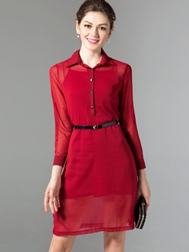 Ericdress Multi-way Sleeves Polo Neck with Belt Sheath Dress