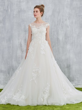 Ericdress A-Line Scoop 3D-Floral Lace Wedding Dress