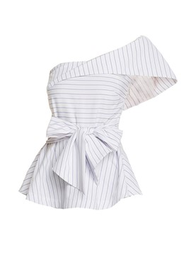 Ericdress Stripe Oblique Collar Sleeveless Blouse