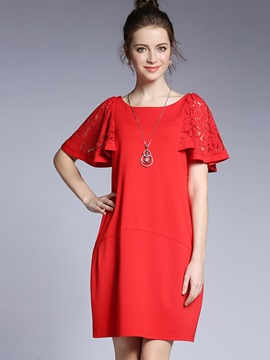 Ericdress Plain Hollow Ruffle Sleeve Loose-Fitting Casual Dress