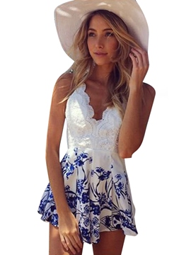 Ericdress V-Neck Sleeveless White Flower Print Women's Jumpsuits
