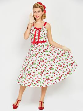 Ericdress Floral Print Sleeveless Expansion A Line Dress