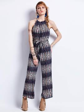 Geometric Pattern Backless Full Length Women's Jumpsuit