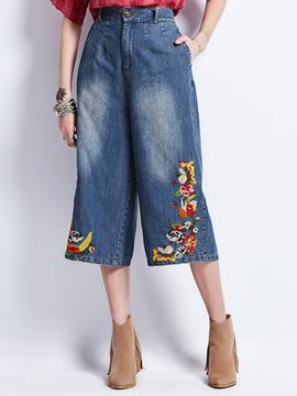 Floral Embroidery Wide Legs Mid-Calf Women's Jeans
