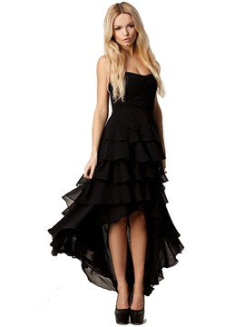 Ericdress Strapless Ruffles-Detail High-Low Layered Little Black Dress