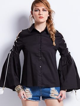 Ericdress Single-Breasted Bell Sleeve Blouse