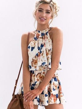 Ericdress Sleeveless Round Neck Flower Print Women's Shorts Suit