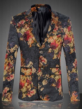 Ericdress Notched Lapel Floral Print Plus Size Men's Casual Blazer