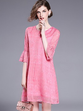 Ericdress Floral Flare Sleeve Scoop Casual Dress