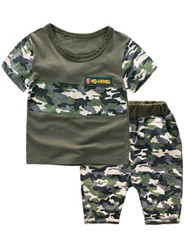 Ericdress Short Sleeve T-Shirt Camouflage Shorts Boys Outfit