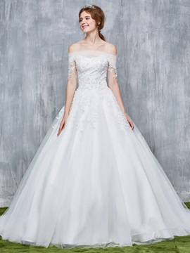 Ericdress Luxury Beading A-Line Off Shoulder Wedding Dress